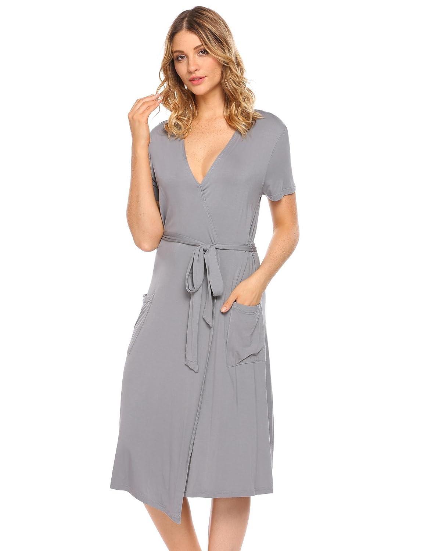 378d0e07ea Pagacat Womens Soft Kimono Robes Short Sleeve Bathrobe Mid Sleepwear S-XXL  at Amazon Women s Clothing store