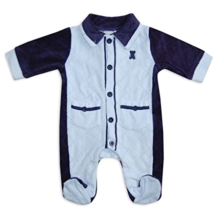 Bebé Niños Boutique estilo pijama recién nacido terciopelo Super suave Pelele Babygrow oso azul azul azul