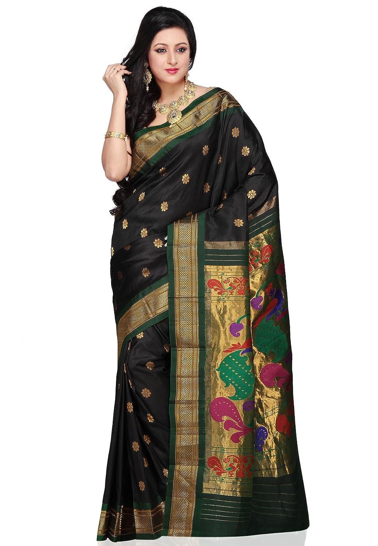 Utsav fashion shopping bag - Utsav Fashion Women S Black Pure Paithani Handloom Silk Saree With Blouse Amazon In Clothing Accessories