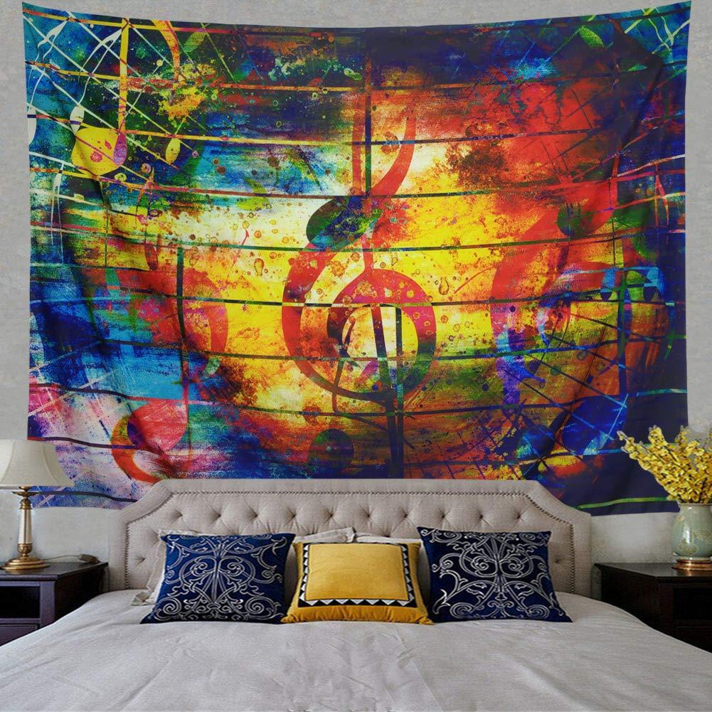 Ameyahud Music Decor Wall Tapestry Wall Hanging Music Note Tapestry Colorful Tapestry Psychedelic Bohemian Mandala Tapestry Indian Wall Art Wall Tapestry Bedroom Living Room Dorm Decor