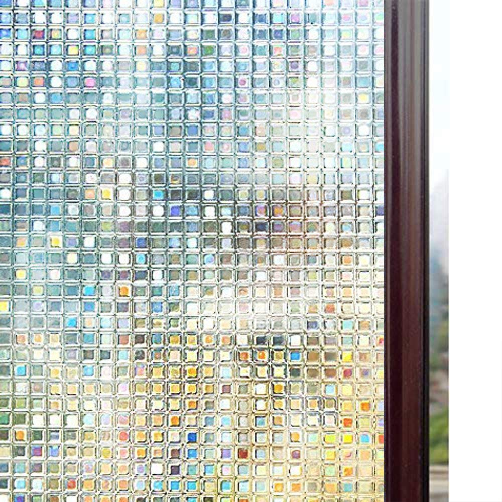 Rabbitgoo 3D Decorative Window Film, Non-Adhesive Privacy Films - Frost Window Glass Film for Home Office, Large Window Cling Roll with Rainbow Effect, Mosaic Patterns, 35.4 x 78.7 inches