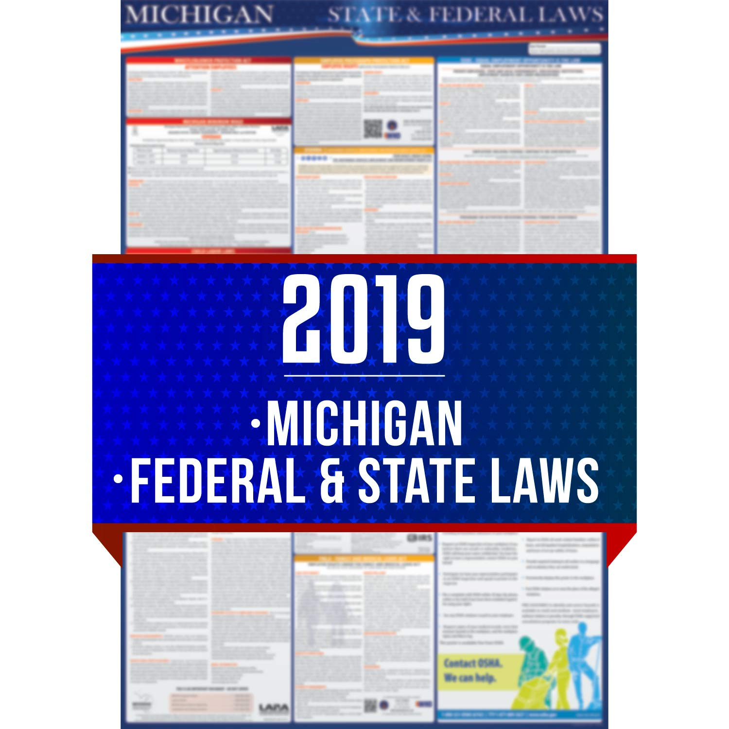 2019 Michigan State and Federal Labor Laws Poster - OSHA Workplace Compliant 24'' x 36'' - All In One Required Posting - UV Coated by COMPLIANCE AUDIT CENTER