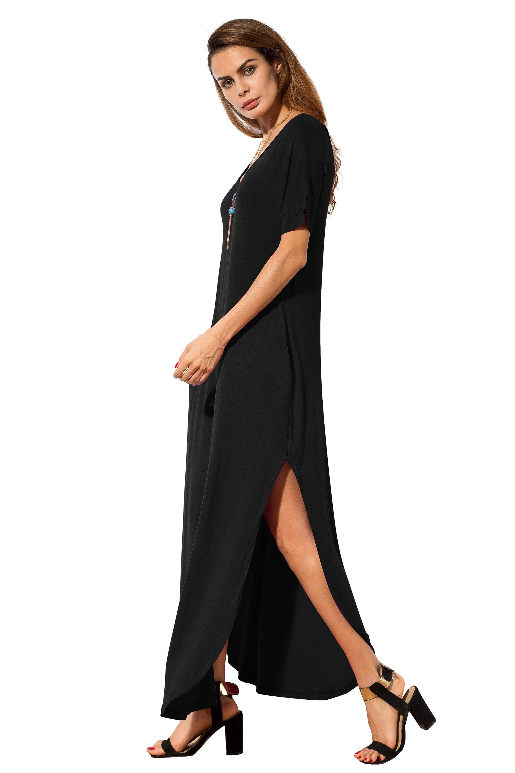 5bb1d260c535 ... Dresses/GRECERELLE Women's Casual Loose Pocket Long Dress Short Sleeve  Split Maxi Dresses. Sale!