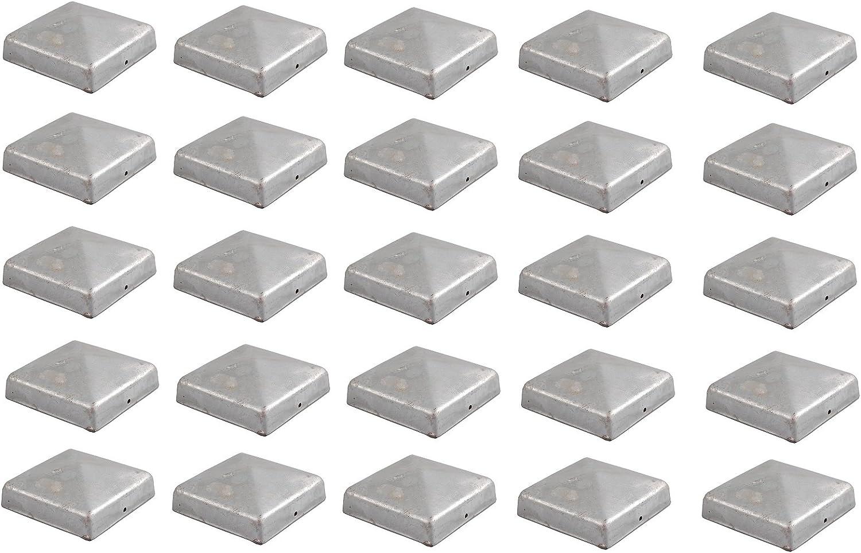 Baumarktplus Pfostenkappe verzinkt 7x7 cm Pyramide Abdeckkappe f/ür Pfosten