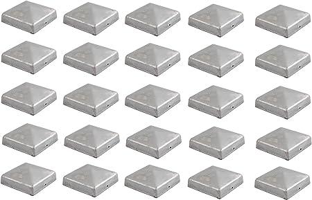 25x Pfostenkappe verzinkt 71 mm Pyramide Abdeckkappe f/ür Pfosten 7 x 7 cm