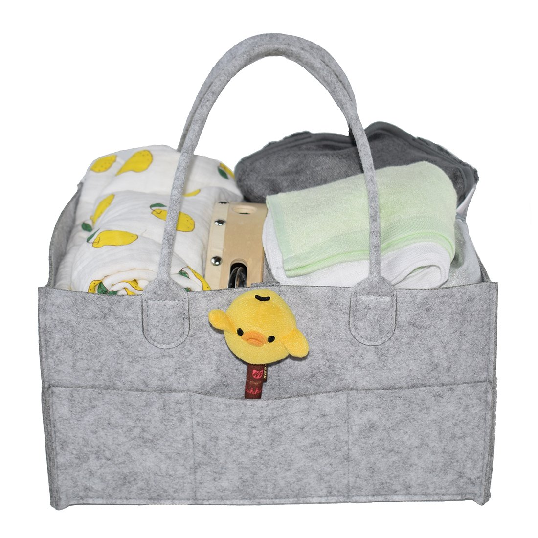 Tosnail Portable Baby Diaper Storage Caddy Organizer Removable Compartments - Gray