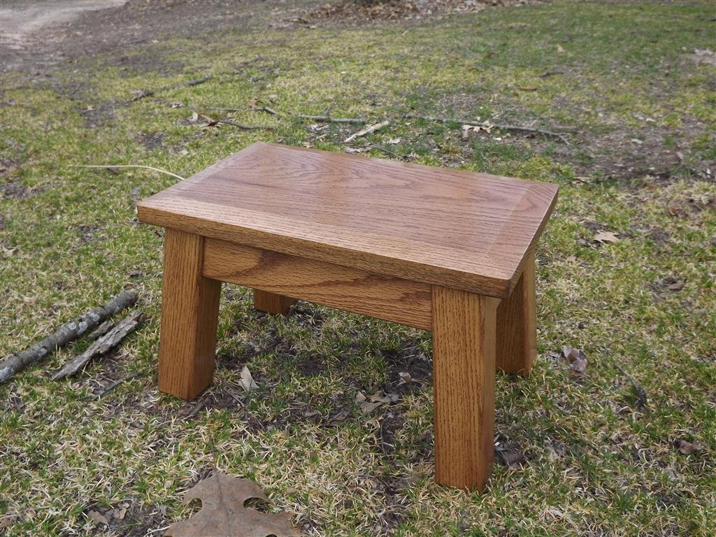 Oak/ wood step stool/ foot stool/ modern/ beveled edge/ stained wood riser 8