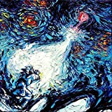 Anime Starry Night Art Poster - PRINT - van Gogh Never Saw A Power Level Over 9000 - Art by Aja 8x8, 10x10, 12x12, 20x20, 24x24 inches