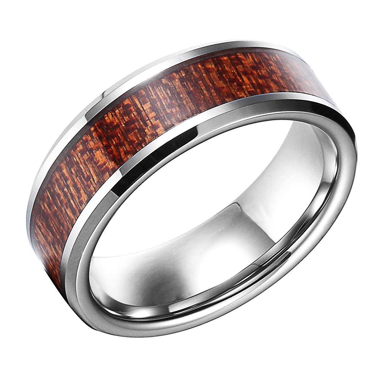 8mm Tungsten Carbide Inlay Wood Grain Bevel Edge Comfort Fit Couple Aniversary/engagement/wedding Band Ring (8) (13)