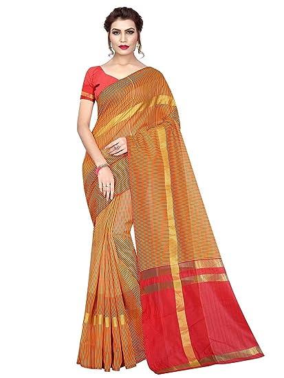 0b59d0d188bda9 ASHMI Red, Yellow Color Chanderi Silk Saree: Amazon.in: Clothing &  Accessories