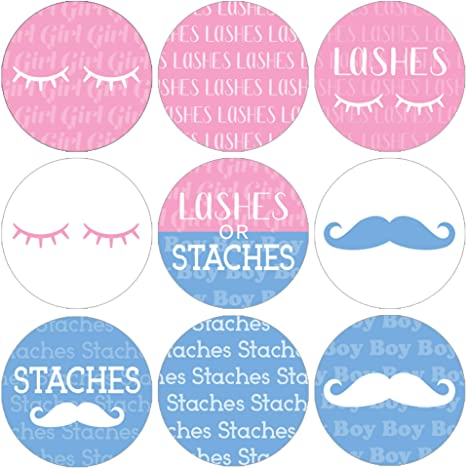 Baby Shower Peel /& Stick Lashes or Staches Gender Reveal Party Stickers Team Boy Team Girl