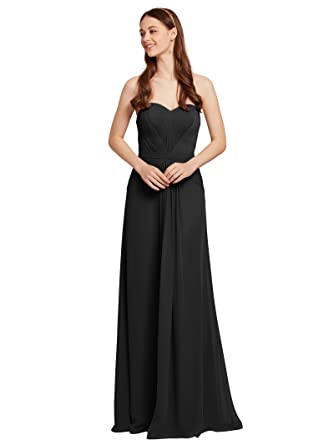 AWEI Long Bridesmaid Dresses Pleated Evening Dresses Strapless Prom Dresses for Women, Black, US0