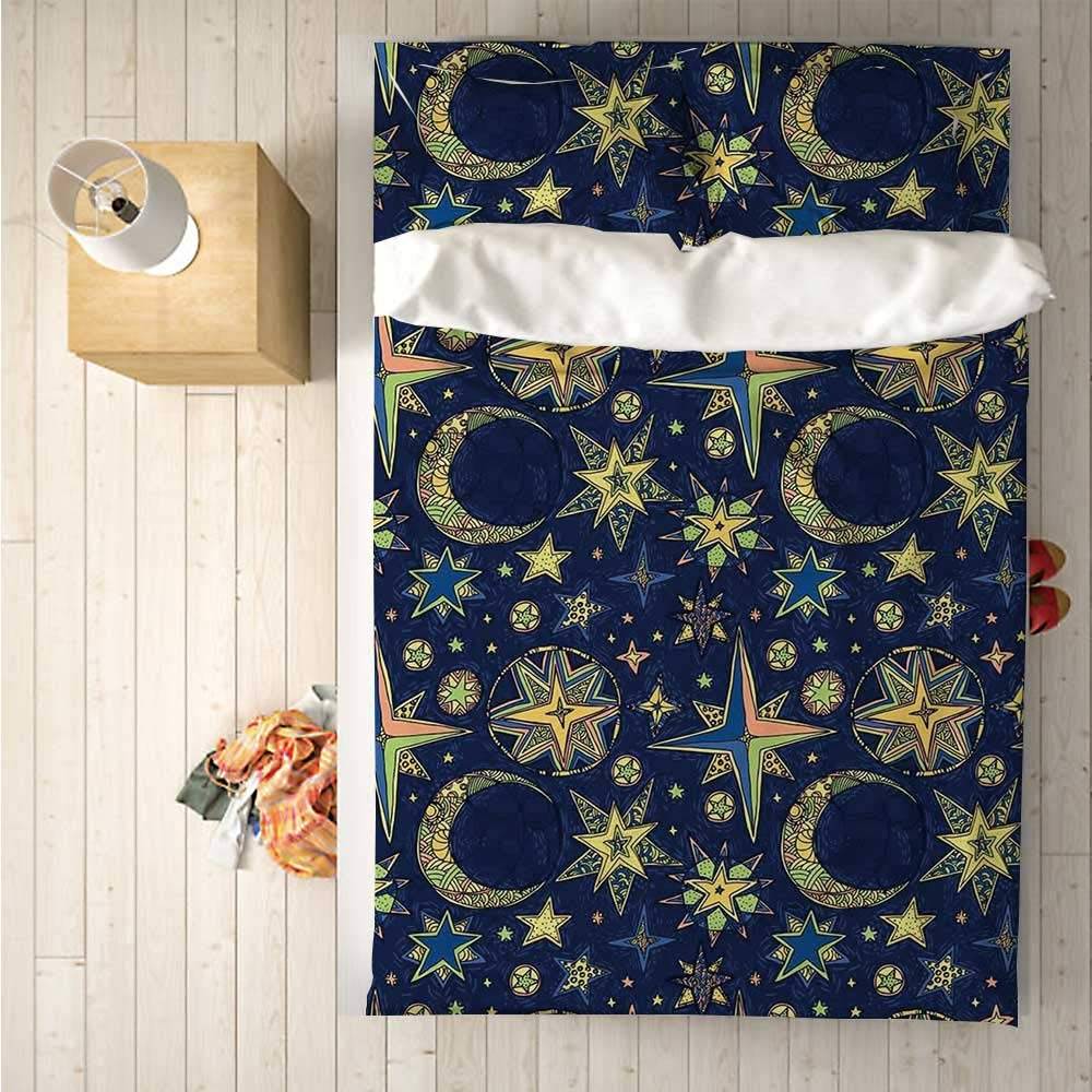 Modern Soft 4 Piece Bedding Set,Starry Sky with Crescent Moon Night Astronomy Space Cosmos Design for Bedroom,One Side Print : Singe