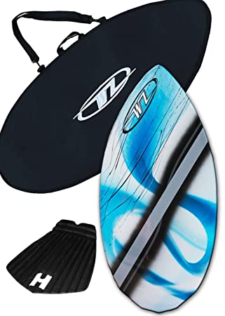 Wave Zone Diamond 38.5 Skimboard Combo Package for Beginners Kids up to 110 Lbs – Blue Skimboard, Board Bag Traction Pad