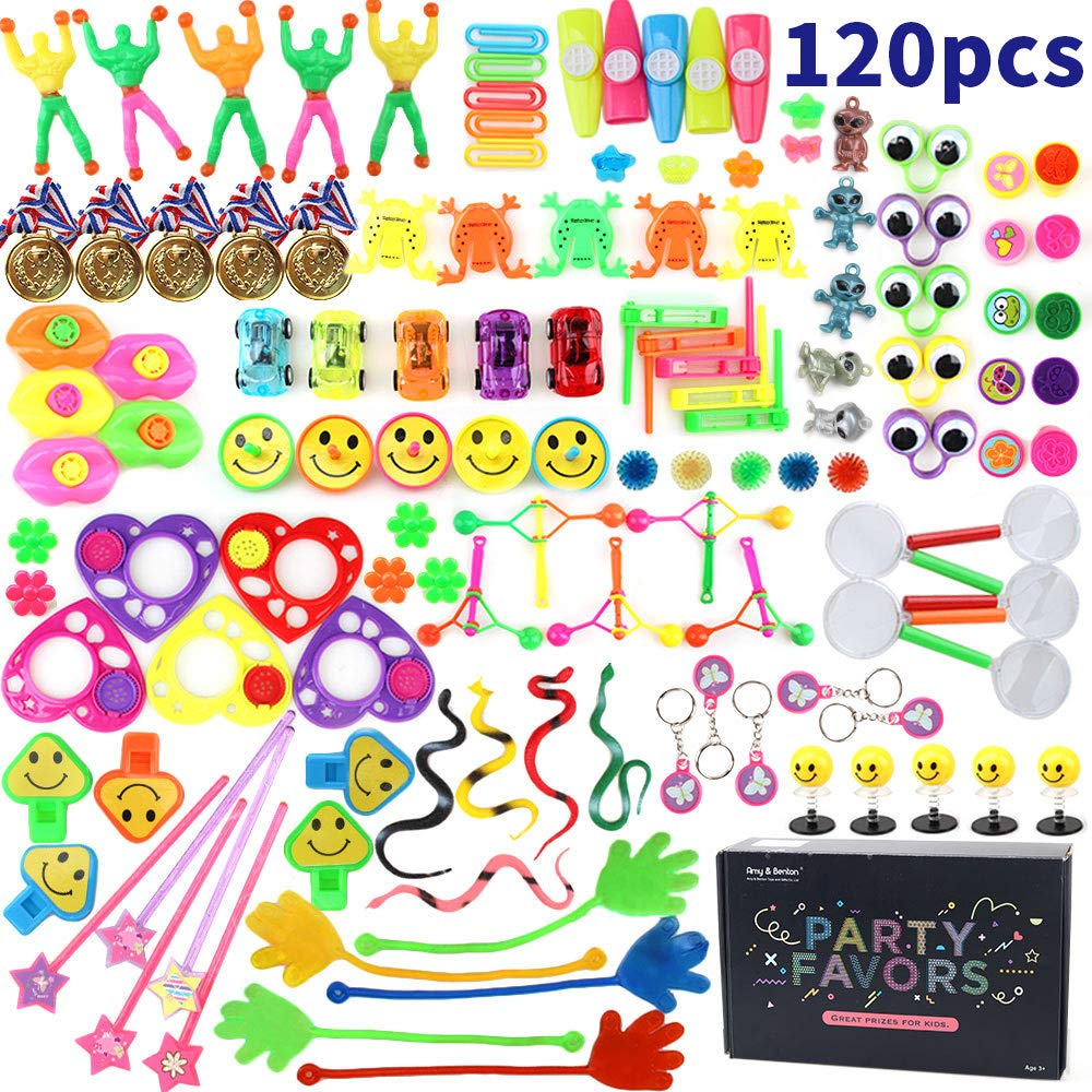 Amy&Benton 120PCS Treasure Box Prizes for Classroom, Kids Birthday Party Favors for Goodie Bag Fillers, Assorted Pinata Fillers, Bulk Party Toy Assortment by Amy & Benton