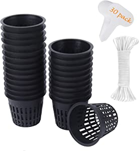 30 Pack 3 Inch Net Cup Pots with Hydroponic Self Watering Wick & Plant Labels for Aquaponics Mason Jar Insert Orchid kratky Vegetable Garden Gardening Growing Netted Baskets Slotted Mesh Wide Lip Rim