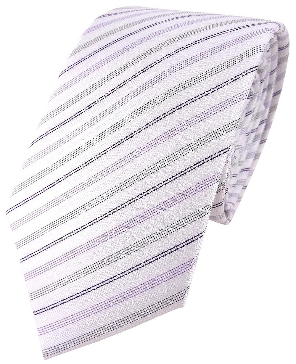 TigerTie - Corbata - morado blanco lila plata rayas: Amazon.es ...