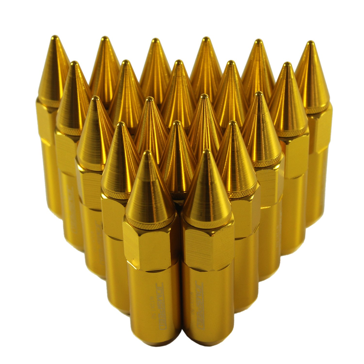 JDMSPEED New Gold 20PCS M12X1.5 Cap Spiked Extended Tuner 60mm Aluminum Wheels Rims Lug Nuts by JDMSPEED