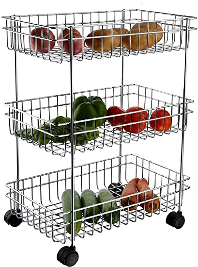 Magneitta Stainless Steel Rectangle, 3-Tier Fruit and Vegetable Trolley, 35x25x63cm, Silver