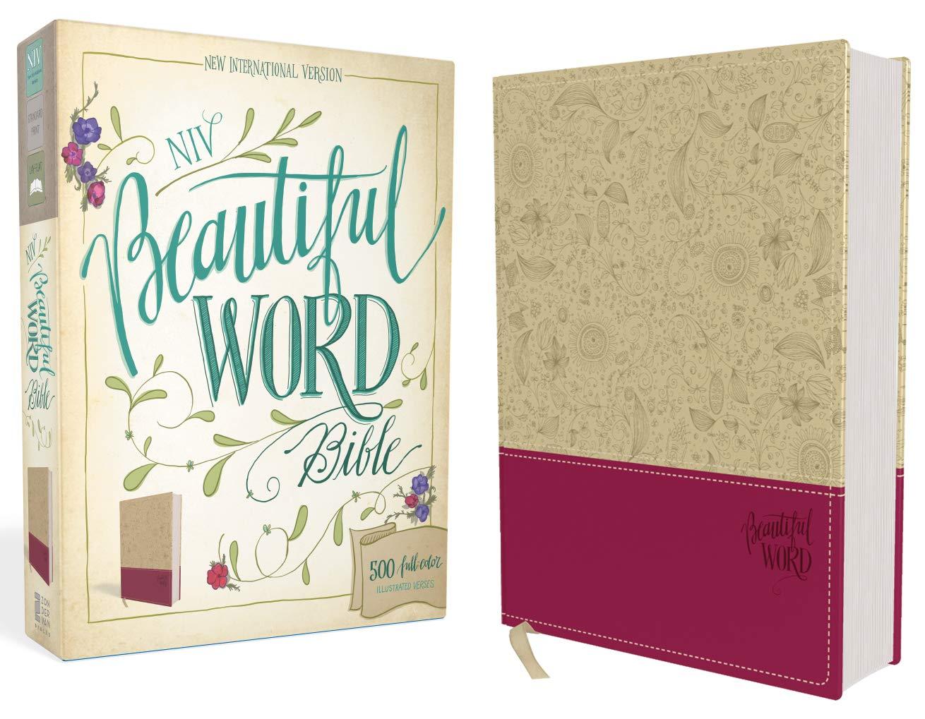 Niv Beautiful Word Bible Leathersoft Tan Pink 500 Full Color Illustrated Verses Zondervan 9780310444275 Amazon Com Books