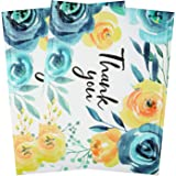 BIOBROWN Bubble Mailers Flower Print Thank You Design for Shipping-10x13inch-25pcs,Blue and Yellow