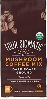 Four Sigmatic Mushroom Ground Coffee - USDA Organic and Fair Trade Coffee with Lions Mane and Mushroom Powder - Focus, Wellne