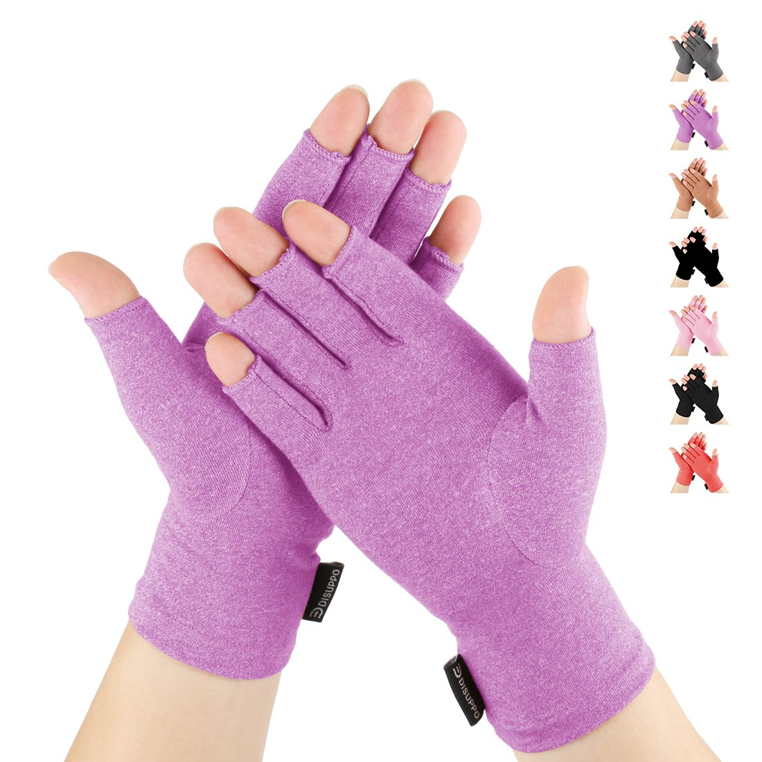 DISUPPO Arthritis Gloves Women and Men Relieve Pain from Rheumatoid, RSI,Carpal Tunnel, Compression Gloves Fingerless for Computer Typing, Dailywork, Hands and Joints Pain Relief (Purple, Medium)