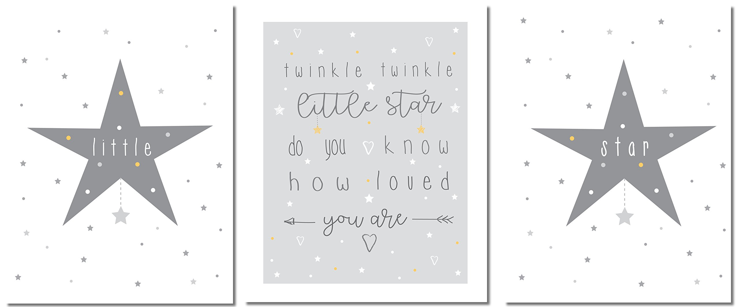 Children's Nursery Prints – 8 x 10 inches Premium Nursery Wall Art – Professionally Printed Nursery Art – Twinkle Twinkle Themed Nursery Wall Art Set – Unframed – Set of 3 –