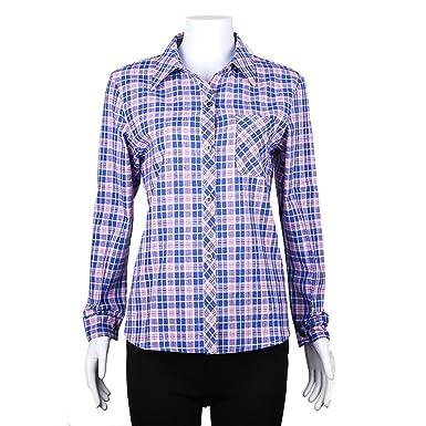 Luckywe Chemise Longue Chemisier Femme Blanc Manches Longues Plus la Taille  des Carreaux Poche Coton Multicolore7 fcedfa70f8b7