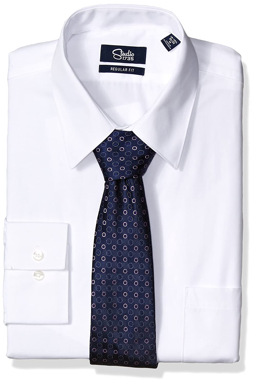 Studio 1735 Mens Standard Mens Dress Shirt and Tie Combo Dot Tie Reg Fit 11ST004