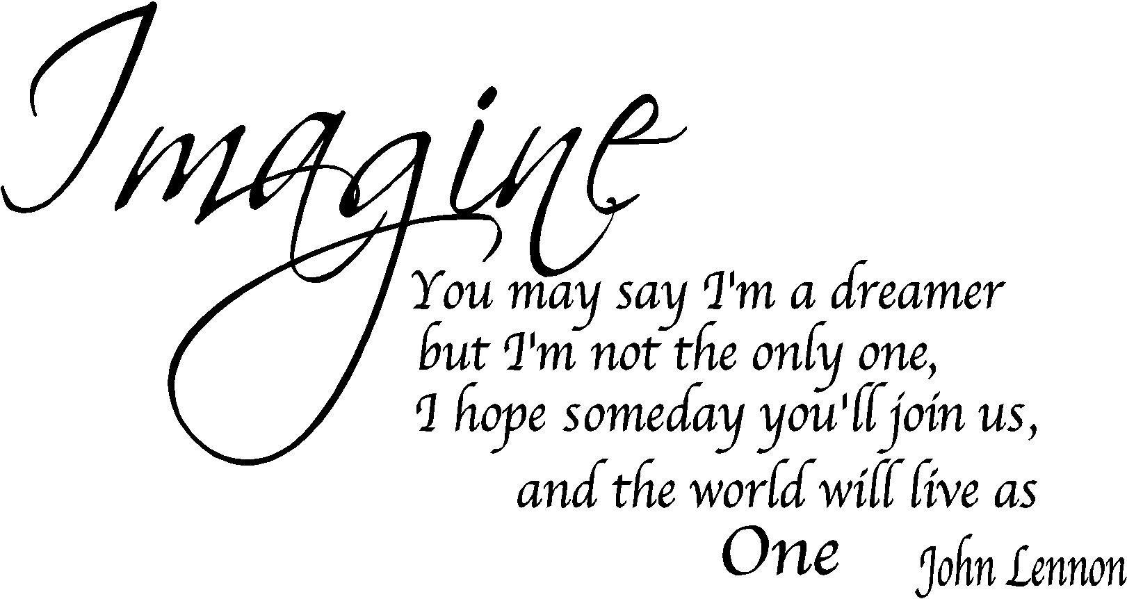 Imagine John Lennon Removable Wall Quote