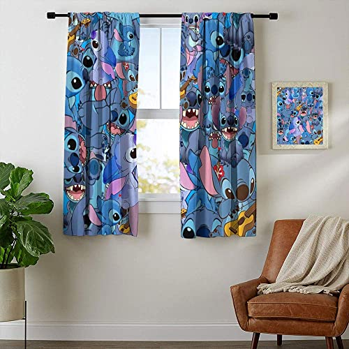 Thermal Insulated Curtains, Lilo and Stitch Curtains for boy Living Room,Waterproof Window Curtain W84 x L84 Inch