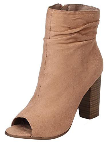 a05ce45e2 Breckelle's Women's Slouchy Stacked Chunky Heel Peep Toe Bootie (8 B(M) US