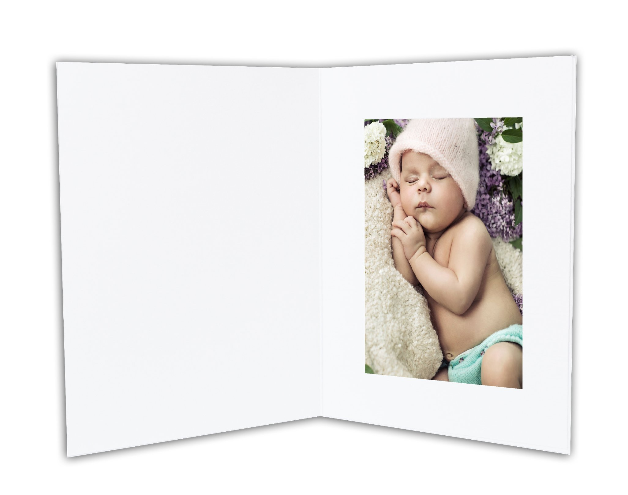 Golden State Art - ANGEL DESIGN COVER - Cardboard Photo Folder For a 4x6 Photo (Pack of 50) GS007 White Color