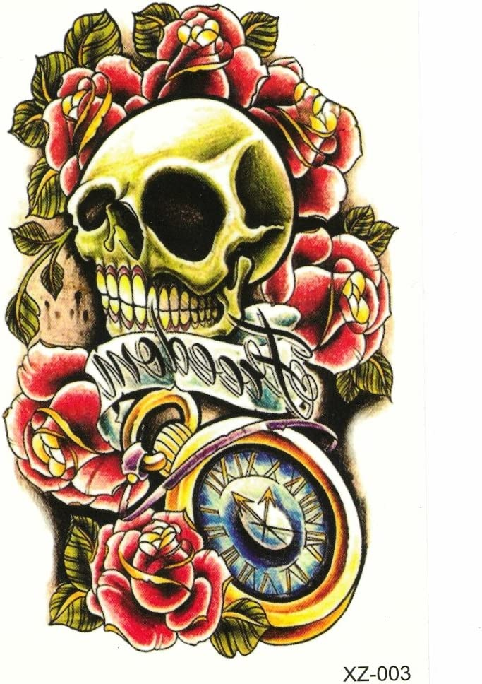 Just Fox – temporäres Tattoo Calavera con rosas Freedom: Amazon.es ...