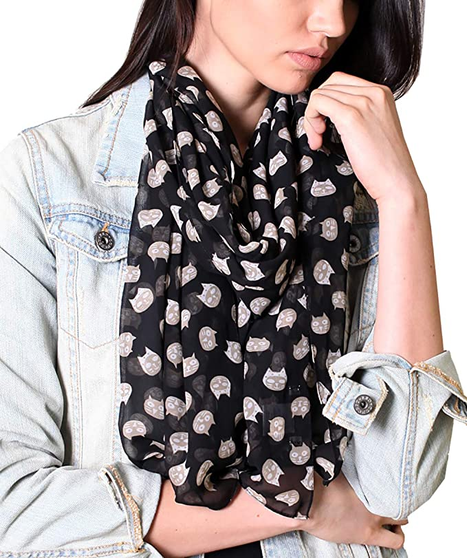 Womens Silk Scarf Sitting Parisian Cat Drawing Style Kitty Printed Square Scarf Sunscreen Shawls 23.6 X 23.6