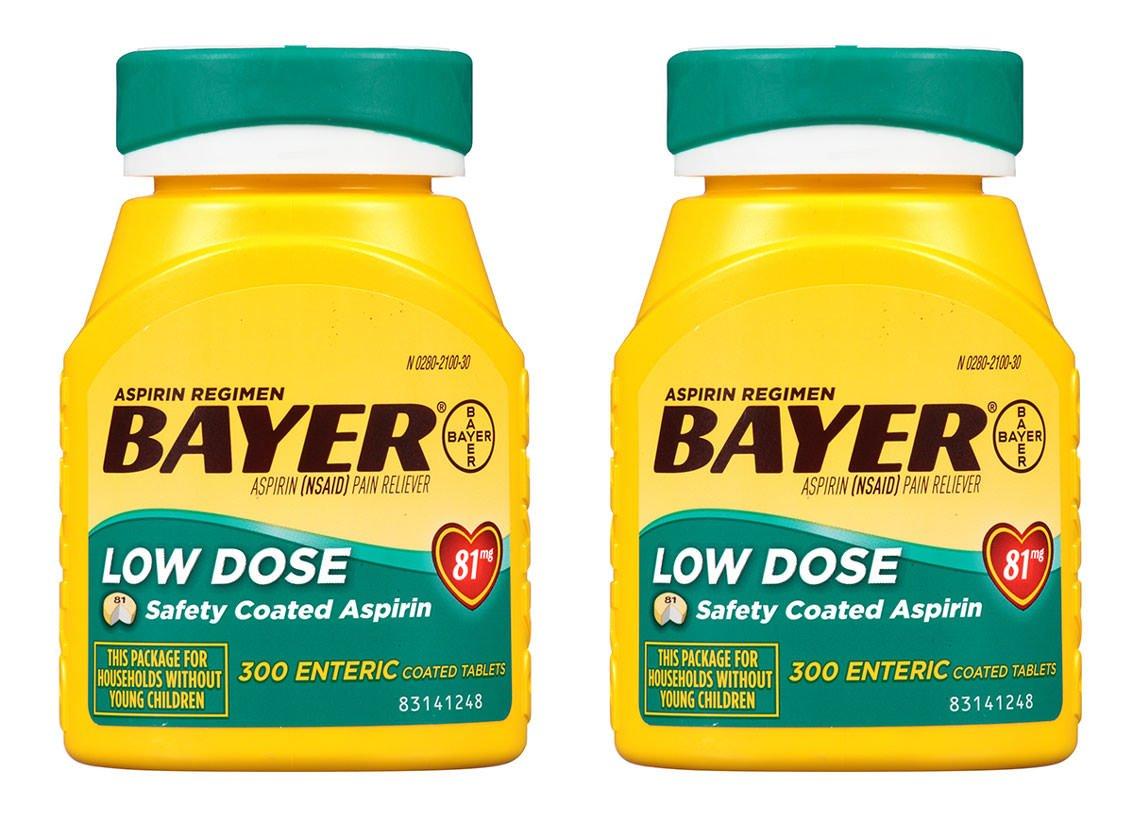 Bayer Aspirin Regimen, Low Dose (81 mg), Enteric Coated, 300 Count, 2 Pack