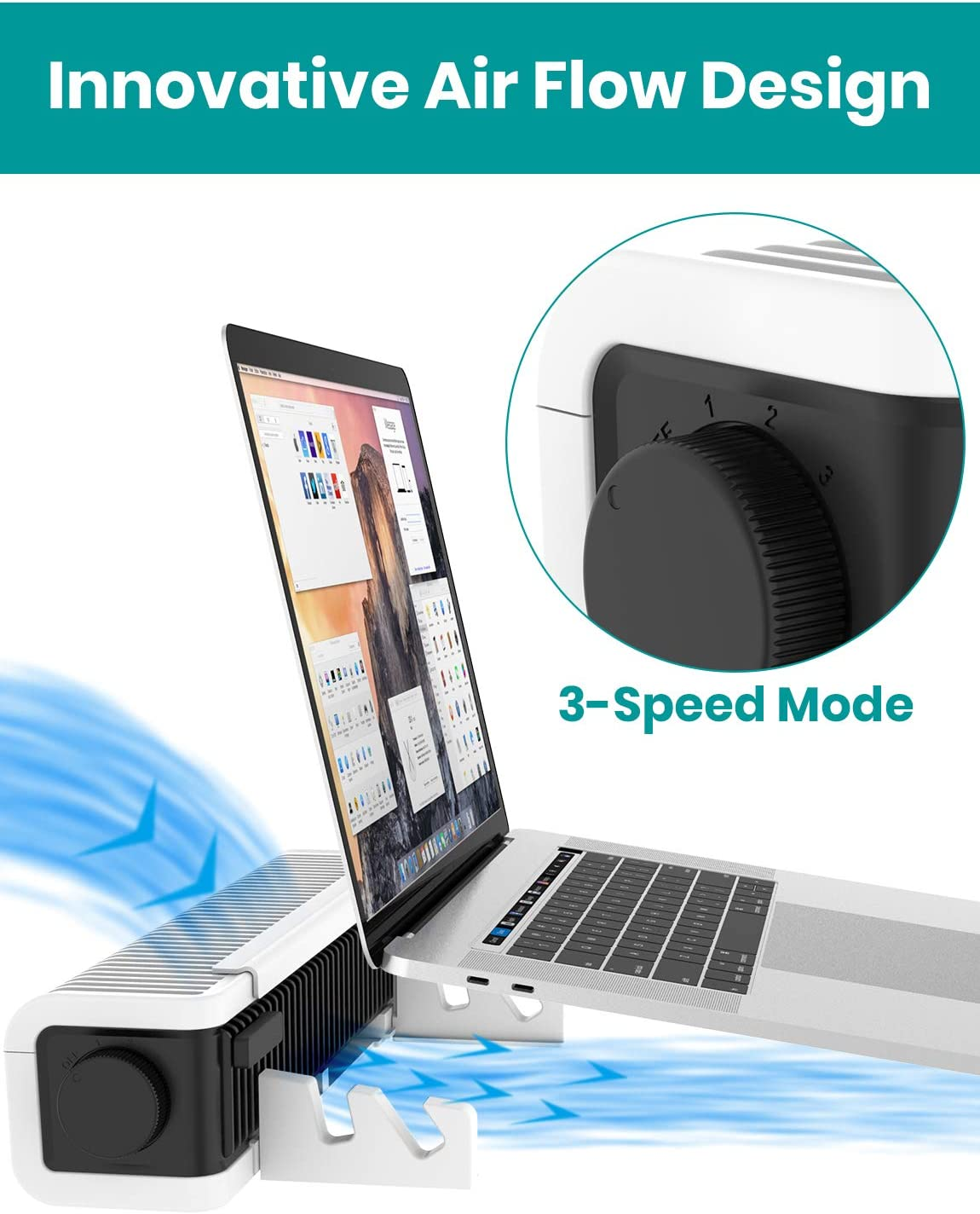 Klearlook Laptop Cooler Adjustable Cooling Stand,USB Laptop Cross-Flow Cooling Fan /&Pad Multi Function Turbine Cooler Cooling Holder for Laptop Tablet Phone 3-Speed,Vertical and Horizontal Standing