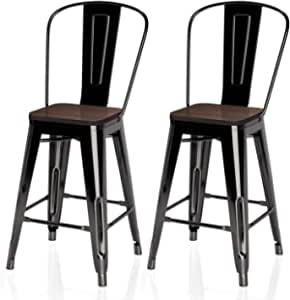 "VIPEK 24 Inches Counter Height Bar Chair Commercial Grade Patio Chairs Metal 24"" Seat Height Barstool with High Back Elm Wood Top Side Dining Stools for Bistro Pub Cafe Kitchen, Set of 2, Gloss Black"