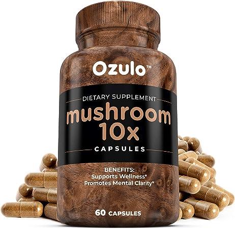 Mushroom Complex 10X Formula Supplement: Brain Booster Support Mushrooms Capsules - Lions Mane, Shiitake, Reishi, Cordyceps, Maitake, Turkey Tail, Chaga etc. Best Energy Extract Pills Bottled in USA