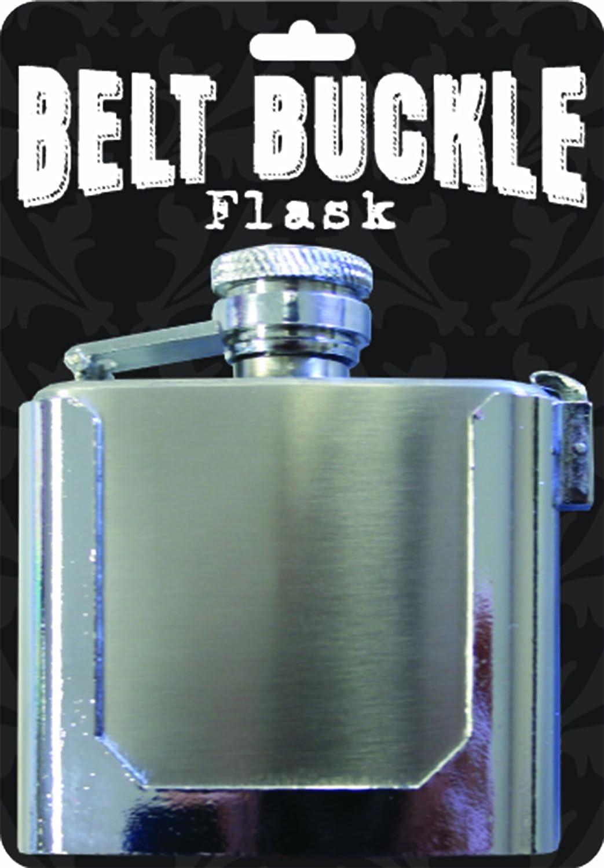 Island Dogs Belt Buckle Flask, Silver