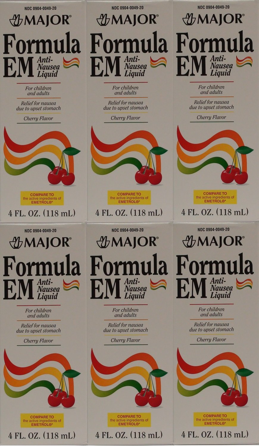 Formula EM Generic for Emetrol Nausea & Upset Stomach Relief Cherry Flavor 4 oz. Bottle Pack of 6 Total 24 oz. by Major Pharmaceuticals