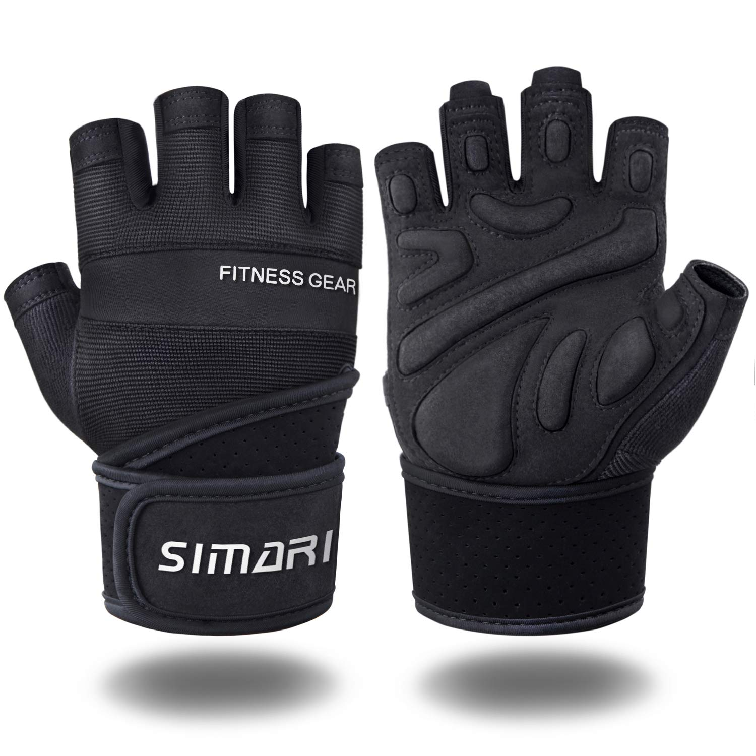 SIMARI Workout Gloves for Women Men,Training Gloves with Wrist Support for Fitness Exercise Weight Lifting Gym Crossfit,Made of Microfiber and Lycra SMRG904(Black S)