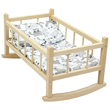 CuddlyZOO NEW LARGE WOODEN PINK ROCKING BED COT Fits Up to 46cm 18 ...