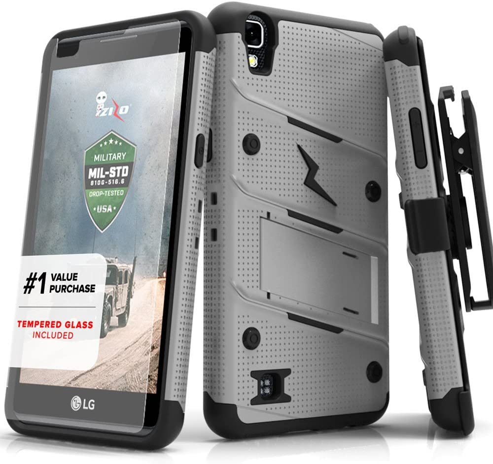 Zizo Bolt Series compatilbe with LG X Power Case Military Grade Drop Tested with Tempered Glass Screen Protector, Holster, Kickstand Gray Black