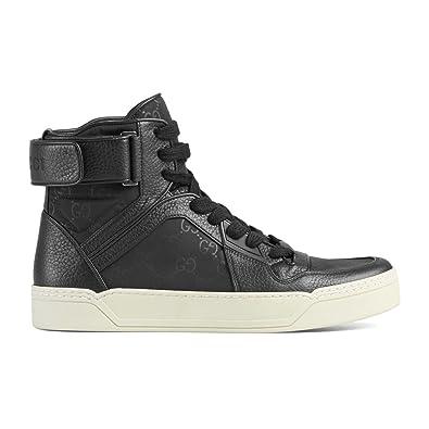 94f48577e Amazon.com: Gucci Men's Black Nylon Leather GG Guccissima High Top Sneakers  Shoes, Black, US 9.5 8.5: Shoes
