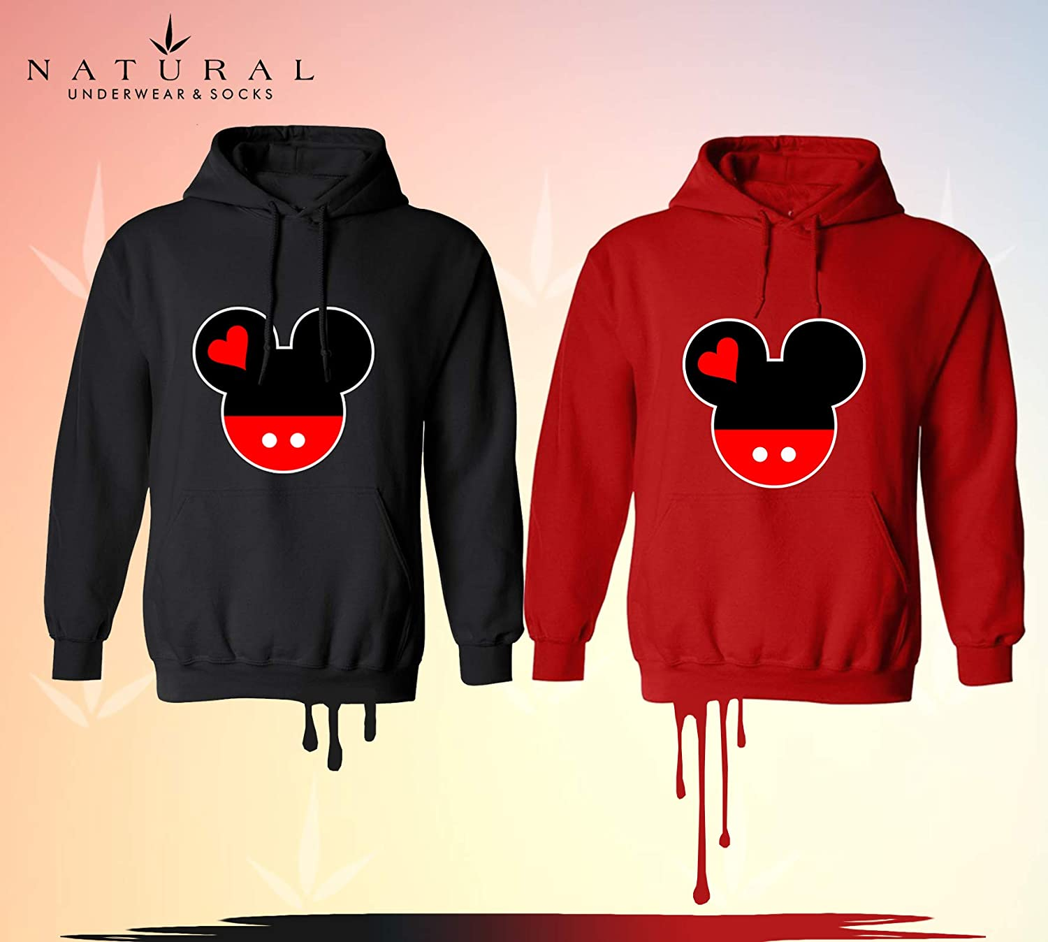 ebac2b10e082 Amazon.com: Natural Underwear Disney Mickey Mouse and Minnie Mouse Kids  Hoodies Girls Boys: Clothing