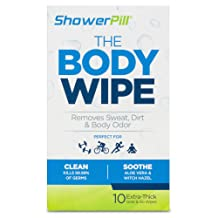Shower Pill Body Cleaning Wipes with Special Cleansing Solution – Mens Shower Wipes – Special Cleansing Cloths – Camping Wipes for Bathing – 30 Seconds Clean with Body Gym Wipes