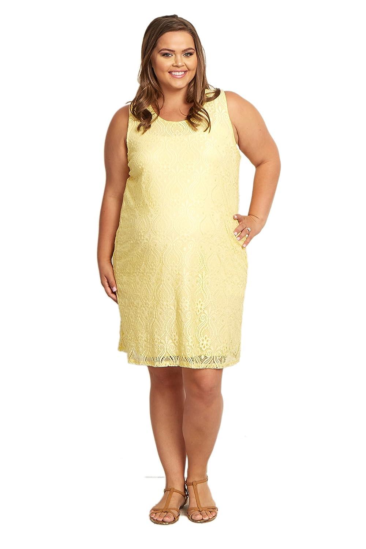 PinkBlush Maternity Yellow Sleeveless Lace Plus Size Maternity Dress ...