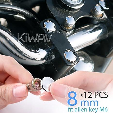 migliore qualità codice coupon nuovo arrivo KiWAV moto coperchi cromati dadi bulloni tappi 8mm viti 6mm ...